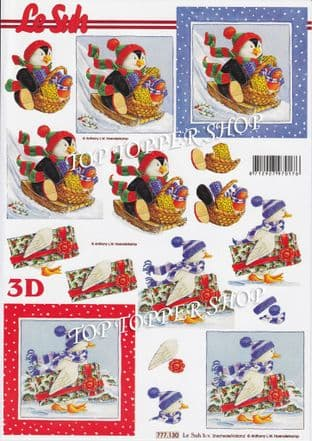 Christmas Penguin & Duck  Le Suh Decoupage Sheet 777130 Requires Cutting
