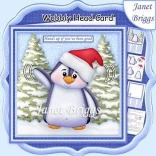 CHRISTMAS PENGUIN WOBBLY HEAD CARD 7.5 Decoupage Card Kit digital download
