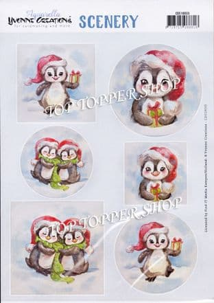 Christmas Penguins A4 Die Cut Card Toppers Yvonne Creations Push Out CDS1033