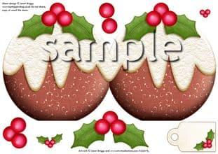 CHRISTMAS PUDDING shape card (2) printed sheet