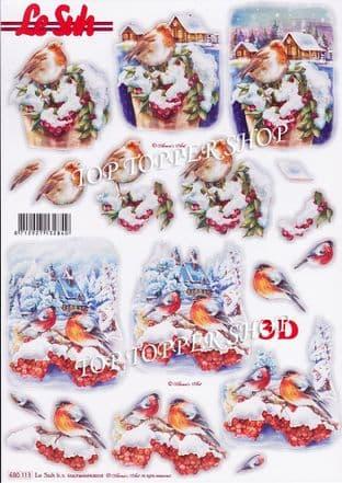 Christmas Robin & Birds A4 Die Cut Decoupage Sheet Le Suh 680.113