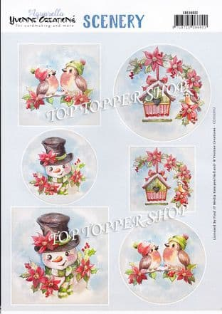 Christmas Robins & Snowman A4 Die Cut Card Toppers Yvonne Creations Push Out CDS1032