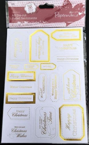 Christmas Sentiment Tags White & Gold 36 pieces Docrafts Papermania 157148
