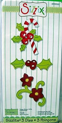CHRISTMAS SET #6  3 DIE SET SIZZIX SIZZLITS