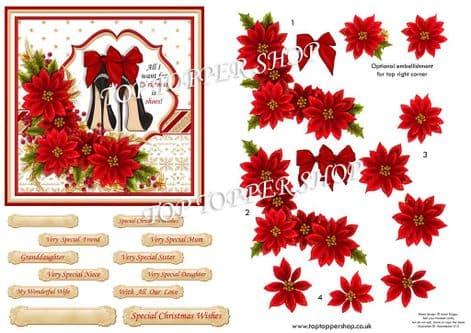 Christmas Shoes  Christmas  Card Topper & Decoupage printed sheet TTSJB19