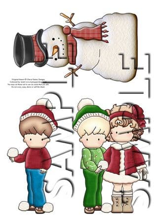 Christmas Snowball Kids 2 Exclusive Clipart Printed Sheet