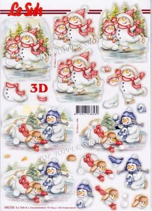 Christmas Snowmen Snowballing A4 Die Cut Decoupage Sheet Le Suh 680.056