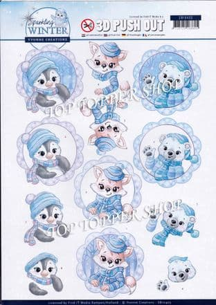 Christmas Sparkling Winter Cuties A4 Die Cut Decoupage Sheet Yvonne Creations Push Out SB10403
