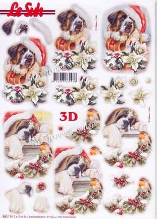 Christmas St Bernard & Robin A4 Die Cut Decoupage Sheet Le Suh 680.114