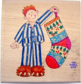 CHRISTMAS STOCKING BOY PAPERNATION RUBBER STAMP PN022Q