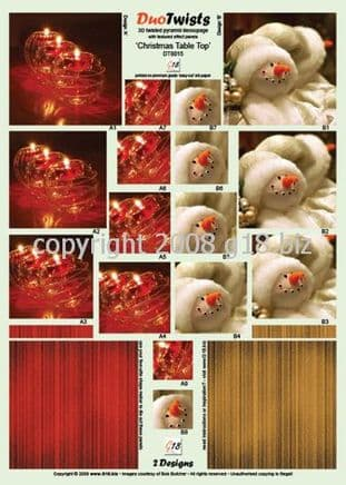 CHRISTMAS TABLE TOP DIE CUT DUO TWISTS FROM G18