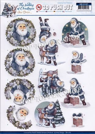 Christmas The Feeling of Christmas Santa A4 Die Cut Decoupage Sheet Amy Design Push Out SB10187