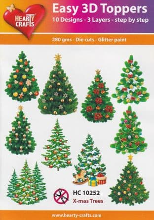 Christmas Trees 10 Easy 3d Die Cut Decoupage Toppers Hearty Crafts HC10252