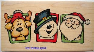 CHRISTMAS TRIO WHIPPER SNAPPER RUBBER STAMP