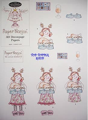 CHRISTMAS - TURKEY LADY PAPER NATION A4 SBS DECOUPAGE SHEET