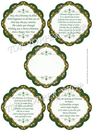 CHRISTMAS VERSES green TOPPERS or INSERT PLAQUES printed sheet 356