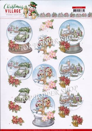 Christmas Village Globes A4 Die Cut Decoupage Sheet Yvonne Creations Push Out SB10476
