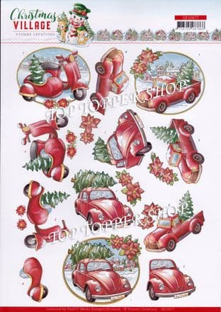 Christmas Village Transport A4 Die Cut Decoupage Sheet Yvonne Creations Push Out SB10477