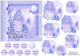 CHRISTMAS VINTAGE CHURCH card & Pyramage printed sheet 518vw