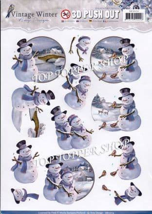 Christmas Vintage Winter Snowman A4 Die Cut Decoupage Sheet Yvonne Creations Push Out SB10214
