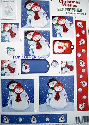 CHRISTMAS WISHES GET TOGETHER - DESIGN HOUSE TWISTED PYRAMID DECOUPAGE