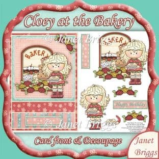 CLOEY AT THE BAKERS topper and decoupage printed sheet