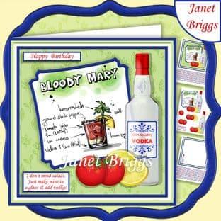 COCKTAILS I DONT MIND SALAD 7.5 Humorous Decoupage Card Kit digital download