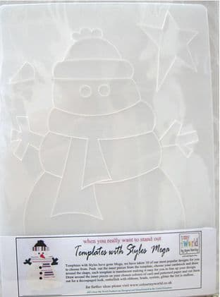 COLOUR MY WORLD Card Making Template WITH STYLE MEGA - SNOWMAN