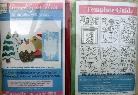 COLOUR MY WORLD CHRISTMAS Card Making Templates - NAUGHTY OR NICE