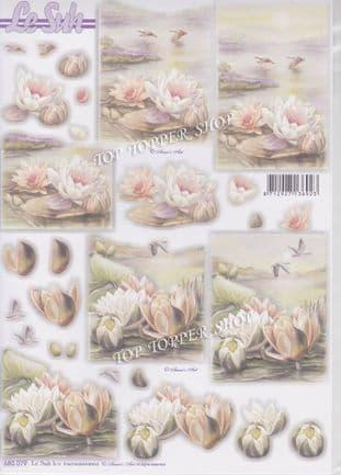 Condolences Water Lilies A4 Die Cut Decoupage Sheet Le Suh 680.079