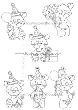 Cool Cats Digi Stamps Printed Sheet