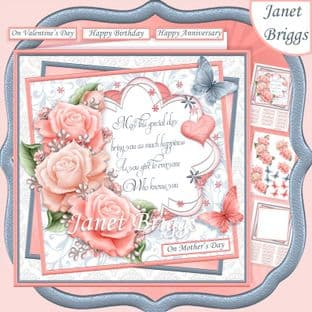 CORAL ROSES & VERSE 7.5 Decoupage  Card Kit digital download