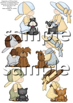 Country Kids And Pets Exclusive Clipart Printed Sheet