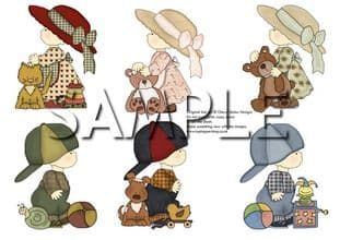 Country Kids And Toys Exclusive Clipart Printed Sheet