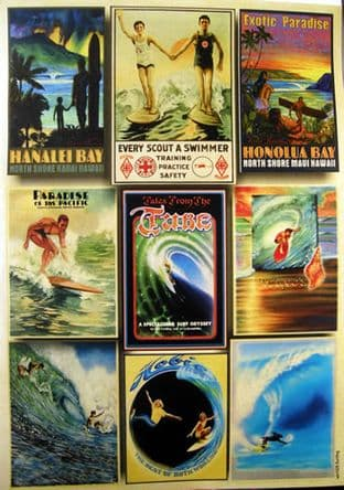 CRAFTIME PEARL PAPER CARD TOPPERS VINTAGE SURFING 029
