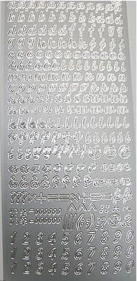 CURSIVE ALPHABET, 6mm LOWERCASE, SILVER PEEL OFF STICKERS JeJe 1.1076