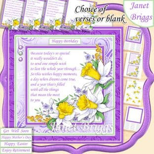 DAFFODILS & VARIOUS VERSES Many Occasions 7.5 Decoupage Card Kit digital download