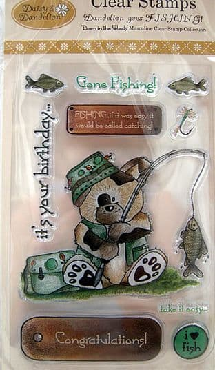 DAISY & DANDELION CLEAR STAMPS - DANDELION GOES FISHING