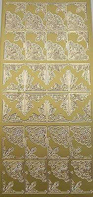 DECORATIVE CORNERS GOLD PEEL OFF STICKERS style2 J145