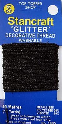 DECORATIVE GLITTER THREAD * METALLIC BLACK * 10m