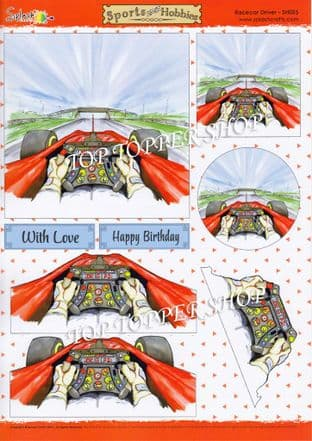 Decoupage Sheet Sports & Hobbies Race Car Driver Splash Crafts SH025 requires cutting