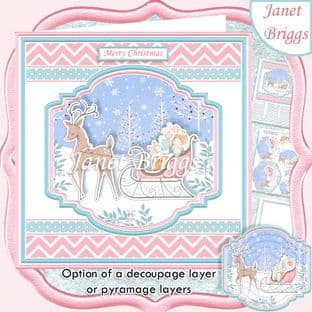 DEER & SLED 7.5 Christmas Decoupage  or Pyramage Card Kit digital download