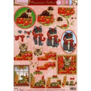DIE CUT CHRISTMAS DECOUPAGE CHRISTMAS CATS STUDIO LIGHT TFRAMES FK31