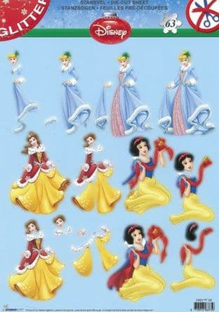 DIE CUT CHRISTMAS DECOUPAGE DISNEY PRINCESS  STUDIO LIGHT TEASYPF63