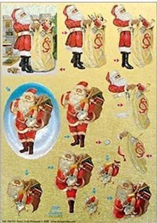 DIE CUT CHRISTMAS DUFEX DECOUPAGE SHEET VINTAGE SANTA 754