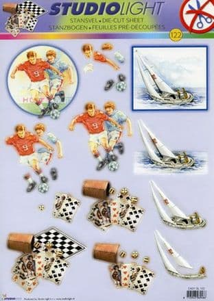 DIE CUT DECOUPAGE FOR MEN - FOOTBALL SAILING GAME STUDIOLIGHT TEASYSL122