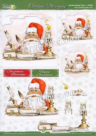 Die Cut Decoupage Sheet Christmas Bookkeeping Claus  Splash Crafts XD002