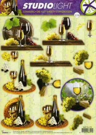 DIE CUT DECOUPAGE WINE STUDIOLIGHT TEASYSL276