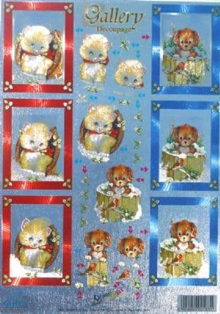 DIE CUT DUFEX CHRISTMAS GALLERY DECOUPAGE CATS & DOGS 853