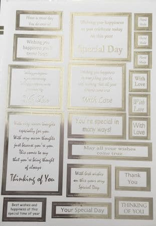 DIE CUT FOILED VERSES & SENTIMENTS SILVER ON WHITE